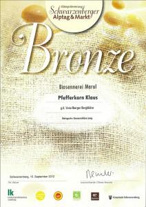 Auszeichnung Biokäse in Bronze