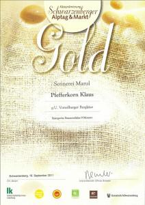 Auszeichnung Biokäse in Gold