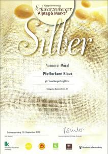 Auszeichnung Biokäse in Silber