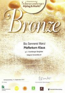 Auszeichnung 2014 Biokäse Walserstolz in Bronze