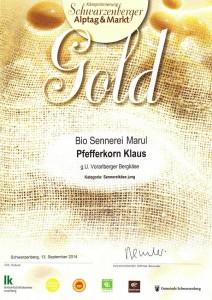 Auszeichnung 2014 Biokäse jung in Gold